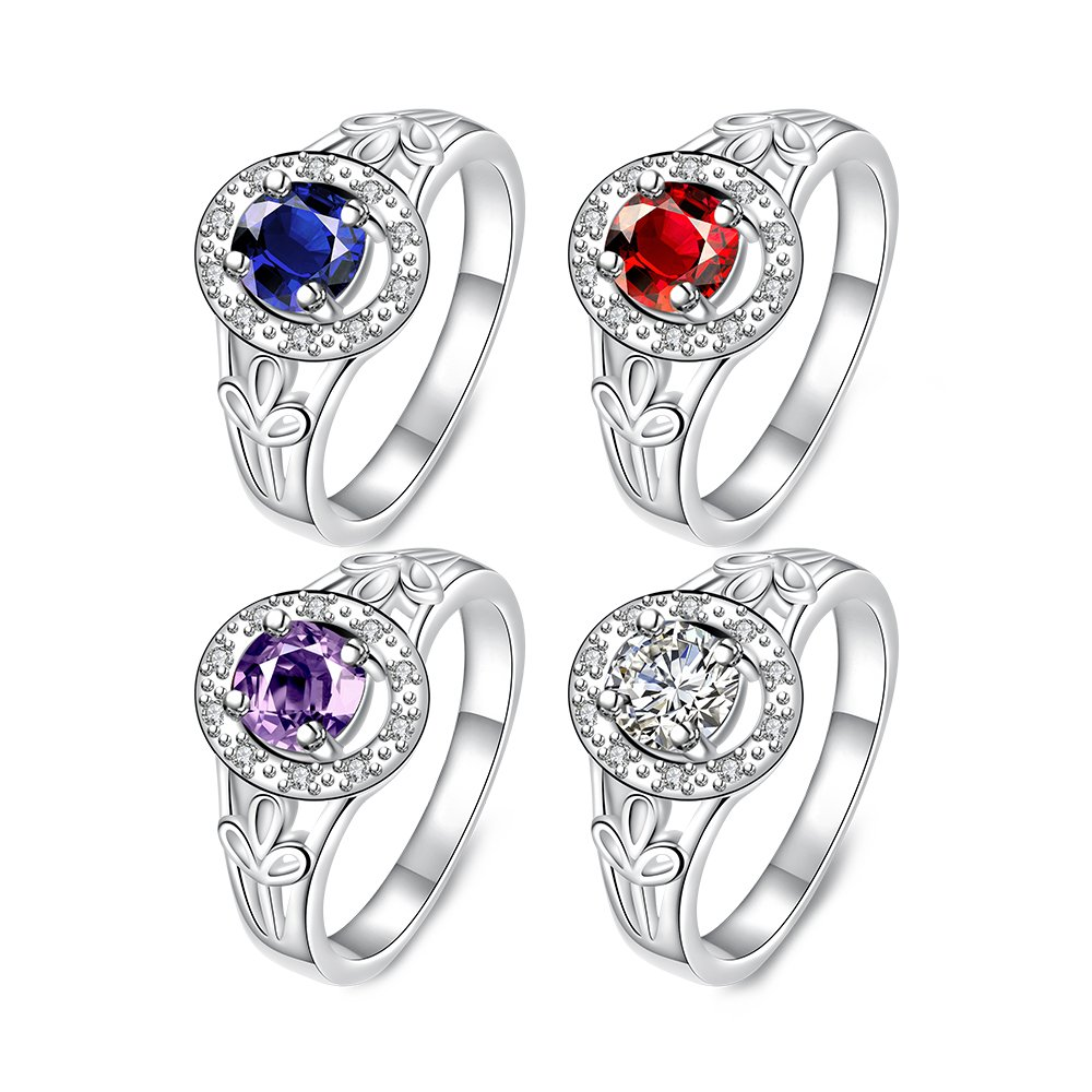 Elegant Crystal Purple CZ Diamond Brass Ring Silver-Plated Women Girl Fashion Jewelry for Wedding Party Banquet #8 TM Constructan