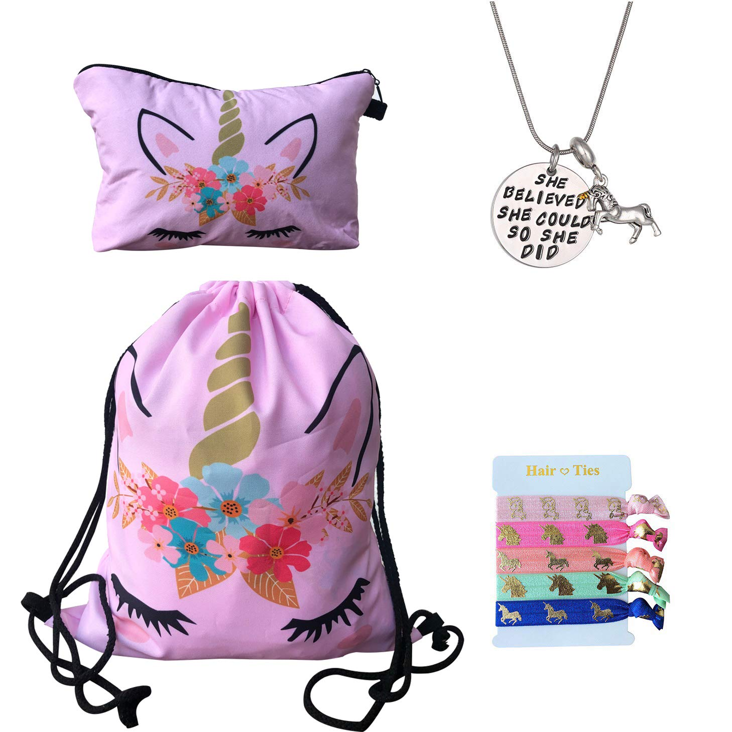 Unicorn Gifts for Girls 4 Pack - Unicorn Drawstring Backpack/Makeup Bag/Inspirational Necklace/Hair Ties W.H. DuJour