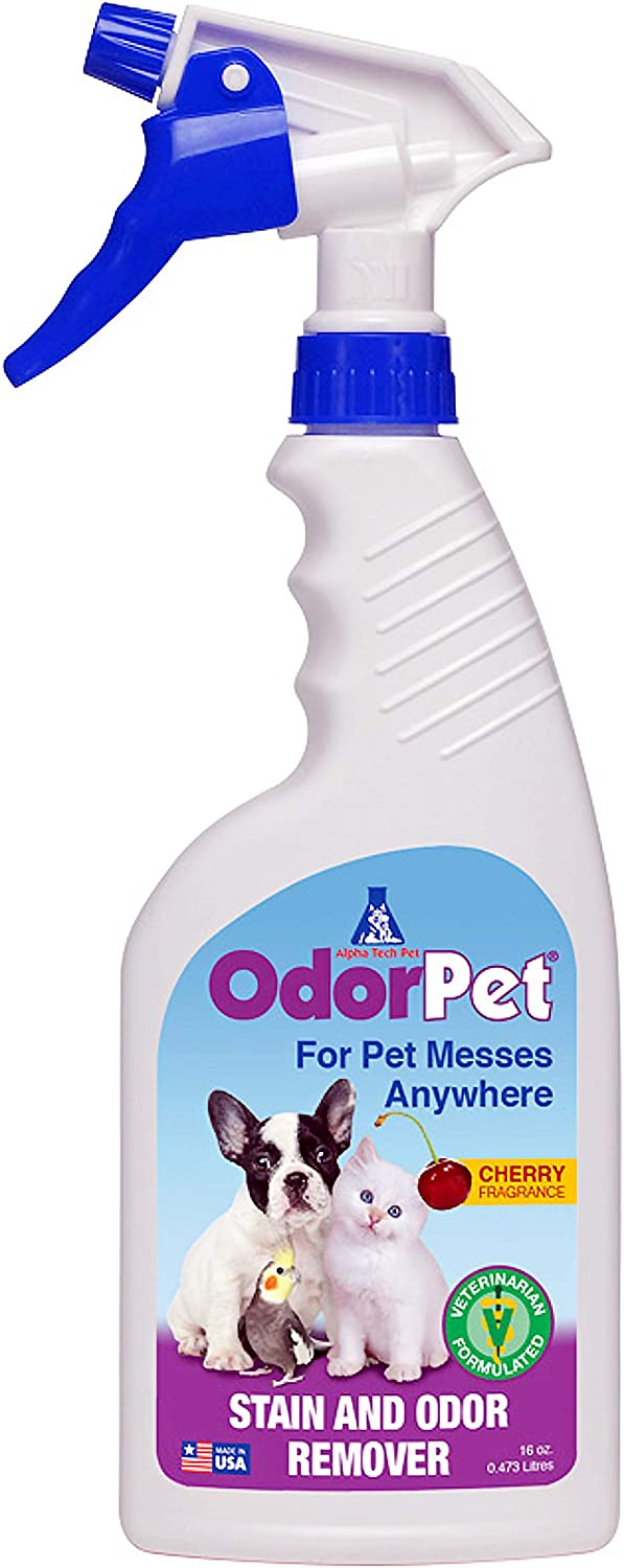 OdorPet Pet Spray | Enzyme Carpet Cleaner | Pet Urine Odor Eliminator | Ready to Use Spray Bottle | 16 Oz. by Alpha Tech Pet