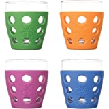 Lifefactory 10-Ounce BPA-Free Indoor and Outdoor Glassware 4-Pack with Protective Silicone Sleeve, Multi-Color