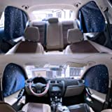 Car Side Window Sun Shades - 4 Pcs Sun Protection Front Rear Magnetic Privacy Sunshades Travel by Car Windshield Curtain for