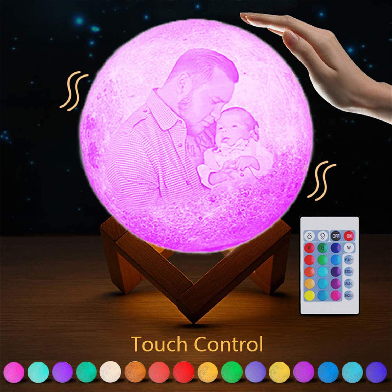 16 Farben Kundenspezifisches Foto Mond Lampe Nachtlampe 3D Mond Lampe Mondlicht LED LIGHT Mond Nachtlicht Lampe Mit fernbedienung Schlafzimmer Dekor USB Lade Stimmung Licht f/ür Tragbare Nachtlampe