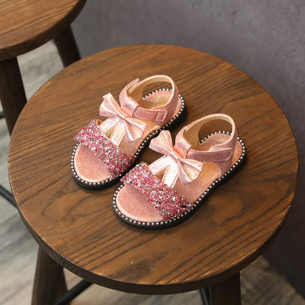 Baby Girls Sandals 1-6T Little Kid Toddler Summer Bowknot Bling Sequins Open-Toe Rubber Sole Beach Sandal Boots Crib Shoes