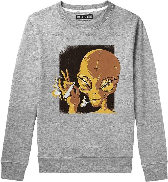 BLAK TEE Hombre Funny Alien Smoking Weed Camisa De ...