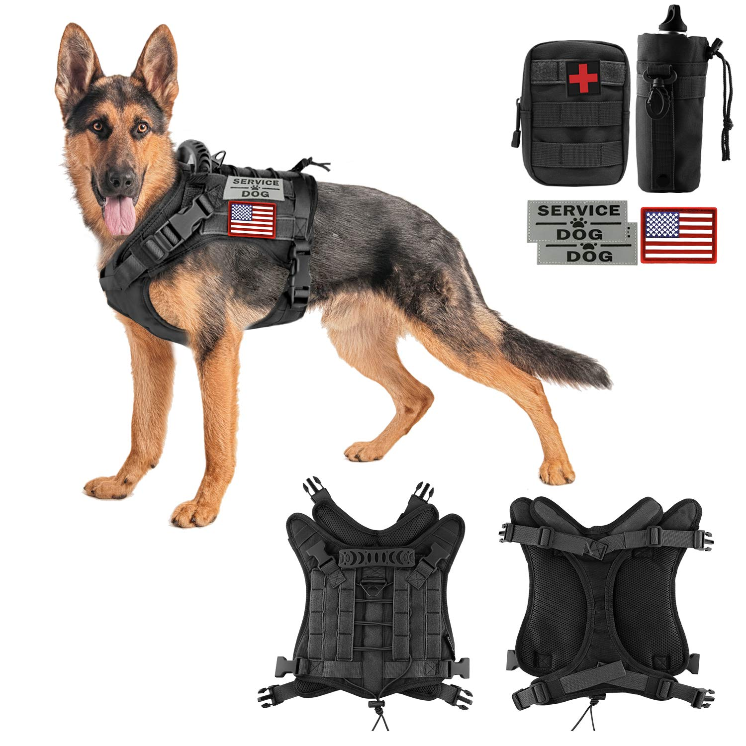Hanshengday Tactical Dog Vest-Training Outdoor Breathable Harness-Military Water-Resistant Dog Backpack-Pet Tactical -Vest Detachable Pouches-D Ring for Dog Leash (XL, 02Black)