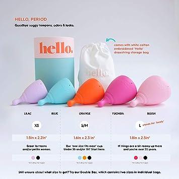 The Hello Cup - Copa menstrual (talla XS), color negro