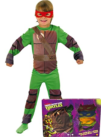 Disfraz de Tortuga Ninja en caja para niño, infantil 8-10 años (Rubies 888261-L)