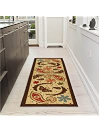 Ottomanson Sarau0027s Kitchen Paisley Design Mat Runner Rug With Non Skid  (Non Slip