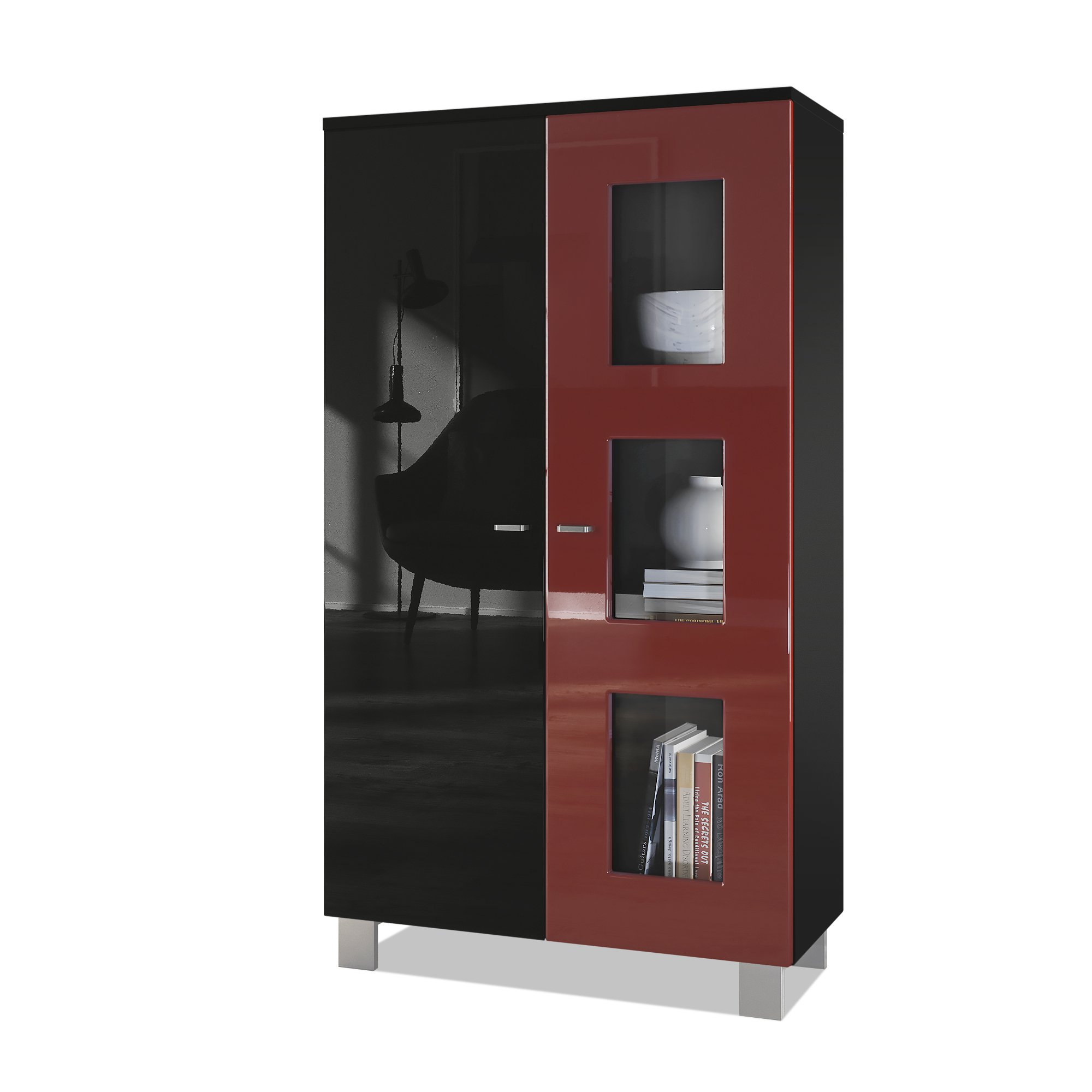Vladon Tall Display Cabinet Cupboard Denjo, Carcass in Black matt/Front in Black High Gloss and Bordeaux High Gloss