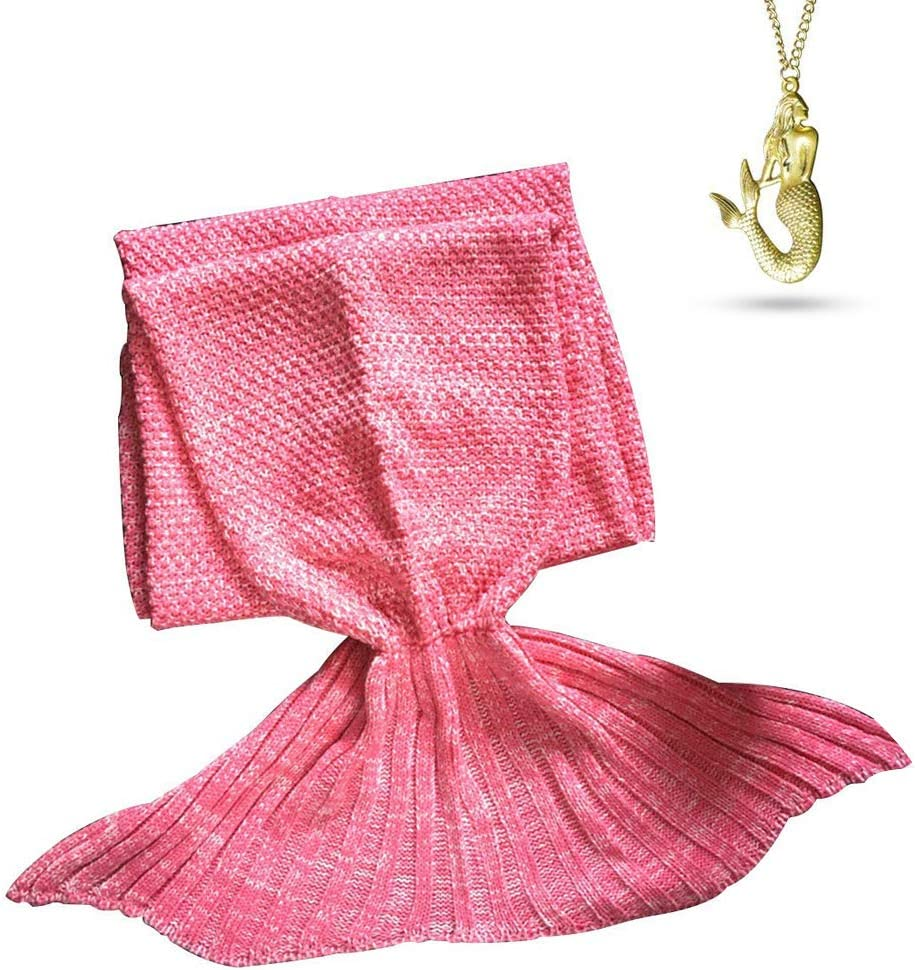 AOOK Mermaid Tail Blanket Homemade Warm Sofa Quilt Super Soft Crochet All Seasons Sleeping Blankets,Handmade Mermaid Tail Blanket for Adults (Pink 195CMX95CM)