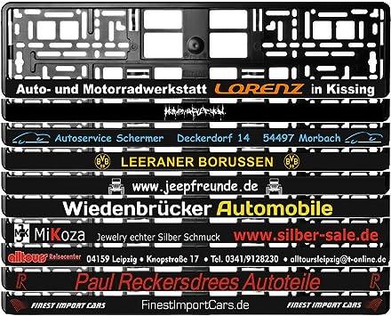 2 Stück Kennzeichenhalter Schwarz Mit Wunschtext Beschriftung Werbung Bedruckt Kostelose Lieferung Auto