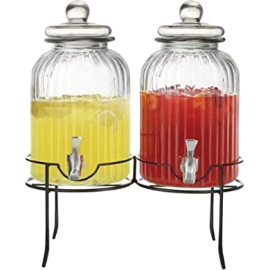 Circleware Sun Tea Mason Jar Double Glass Beverage Dispensers with Metal Stand and Lid, Entertainment Kitchen Glassware for Water, Juice, Wine, Kombucha and Cold Drinks, 1.3 Gallon Each, Ridge
