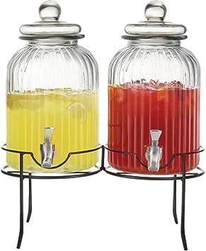 Circleware doble Ridge cristal dispensadores de bebidas bebida con soporte de metal negro, 1.3/2.6 galones, claro: Amazon.es: Hogar