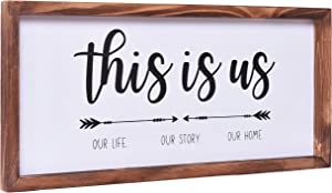 Farmhouse Decor - Modern Rustic Wall Art Home Decor - This Is Us Sign - Cute and Solid Wood Framed Printed Sign for Bedroom, Living Room, Foyer, Family Room Decoration - Size 8x17 Inches