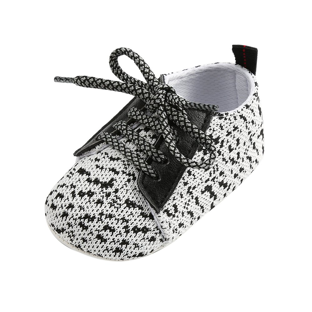 Infant Baby Boys' Girls' Non-Slip Rubber Sole First Walking Shoes Breathable Knitted Toddler Sneakers White, 6-12 Months