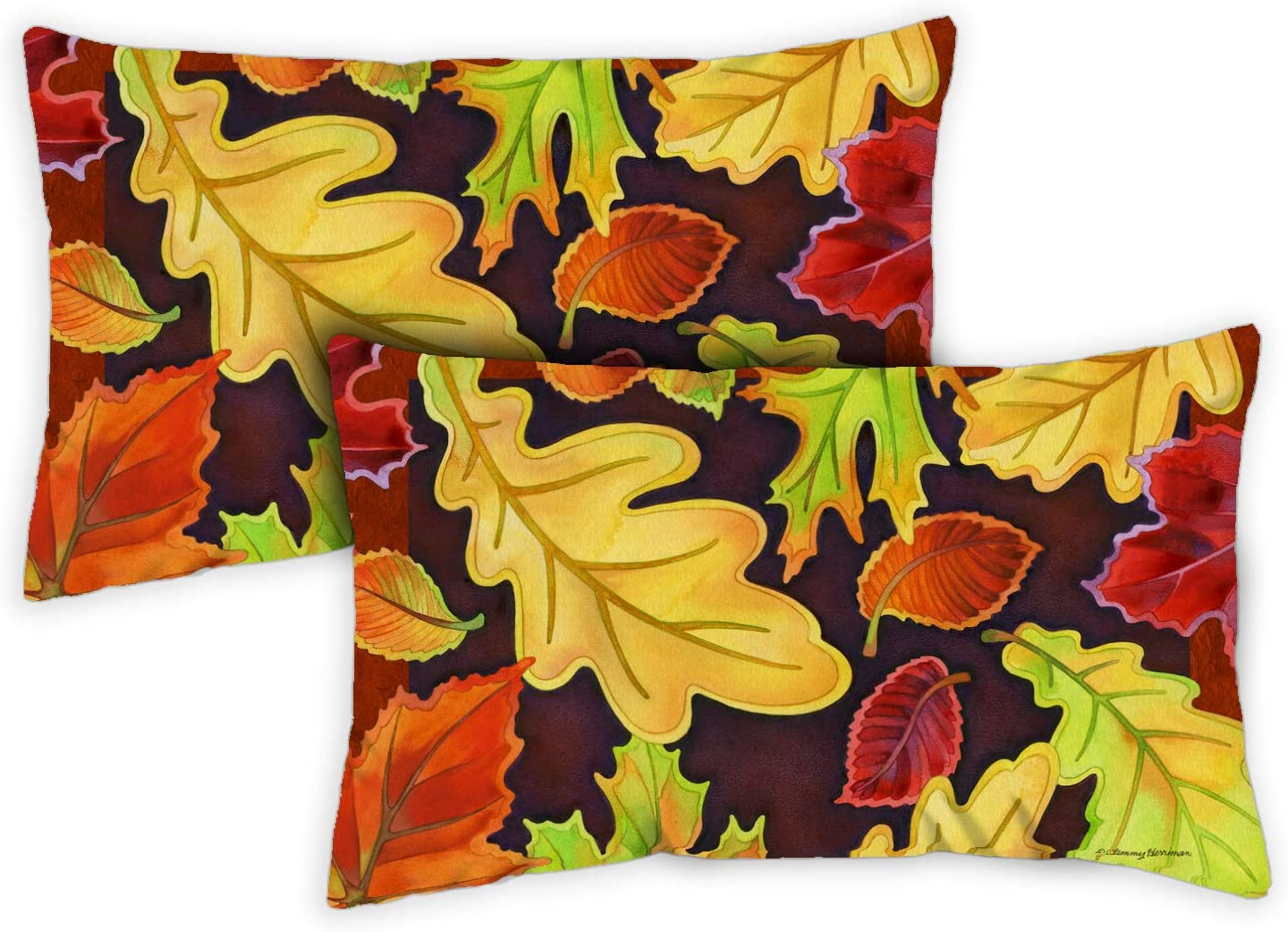 2-Pack Case Pillow Toland Home Garden 771246 Leafy Leaves 12 x 19 Inch Indoor//Outdoor