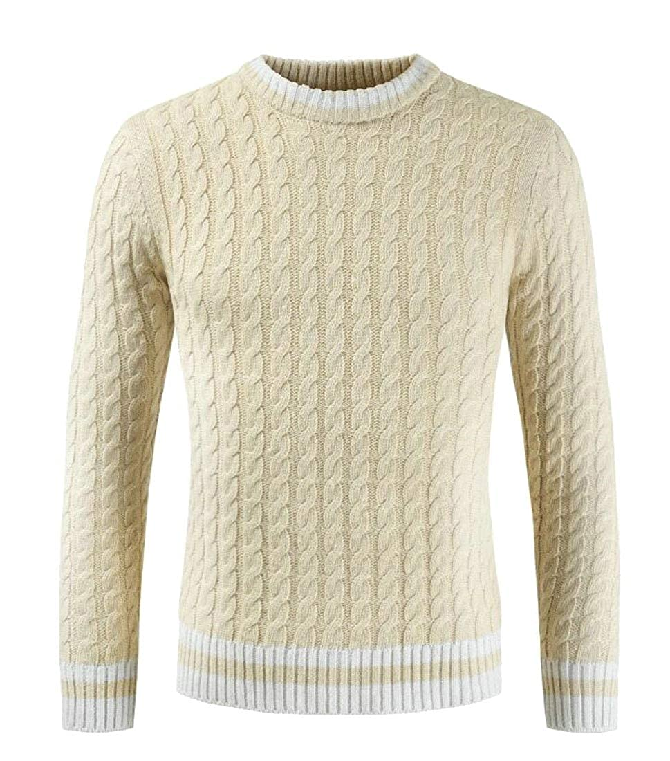 X-Future Mens Stylish Ribbed Cable Knit Long Sleeve Crewneck Pullover Sweater