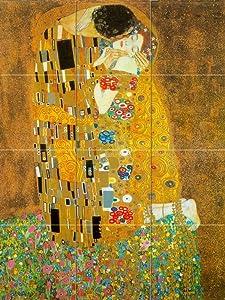 Mural Ceramic Kiss Klimt Decor Backsplash Bath Tile Behind Stove Range Sink Splashback, Matte