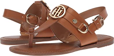 c4b43d2309b Tommy Hilfiger Womens Luvee Faux Leather T-Strap Sandals Brown 5 Medium (B