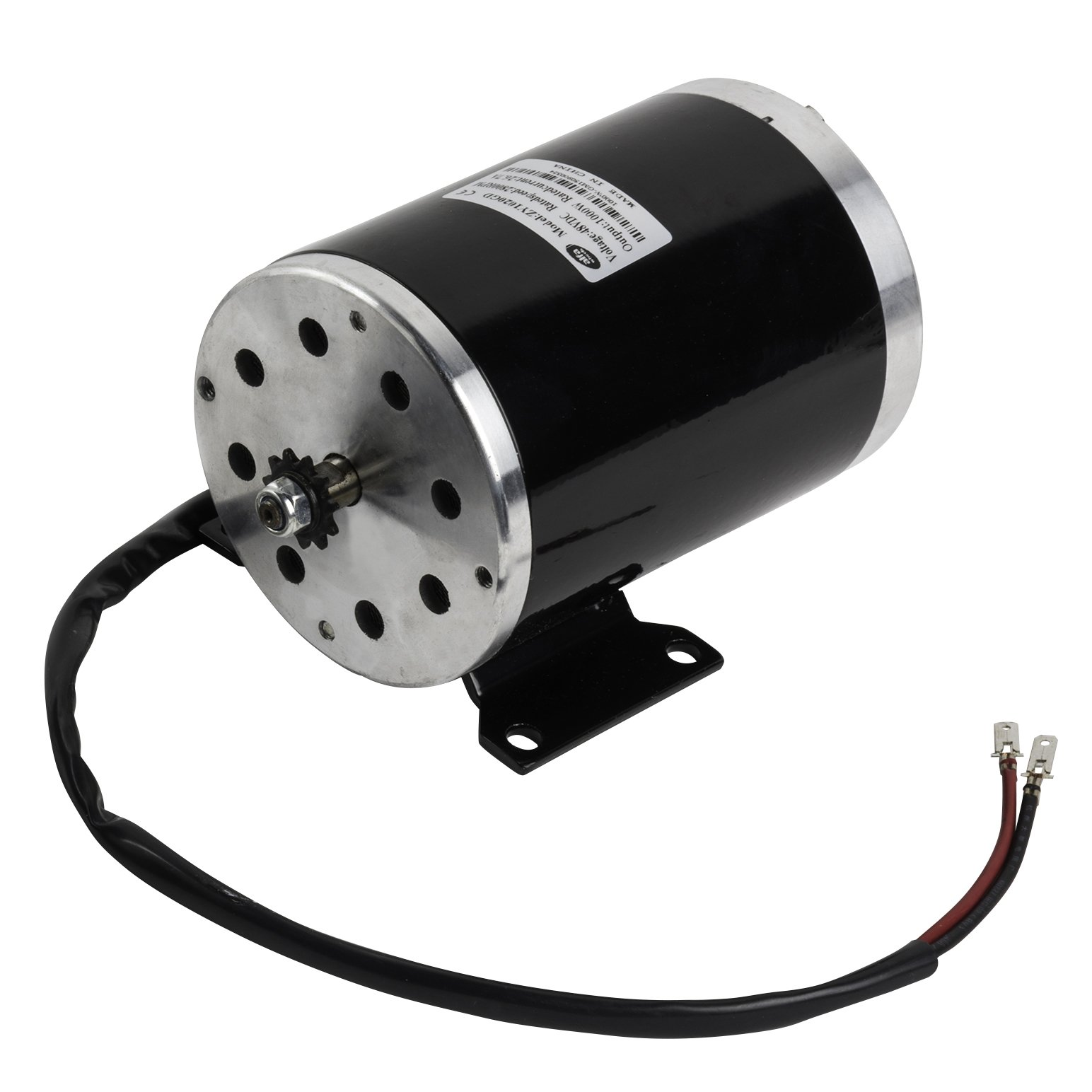 Electric Motor 48 Volt DC 1000 Watt with Base for Scooter Bike Go-kart Mini Bikes Model Numbers MY1020 ZY1020G Reversible with 11 teeth sprocket #25 chain 6.35 pitch