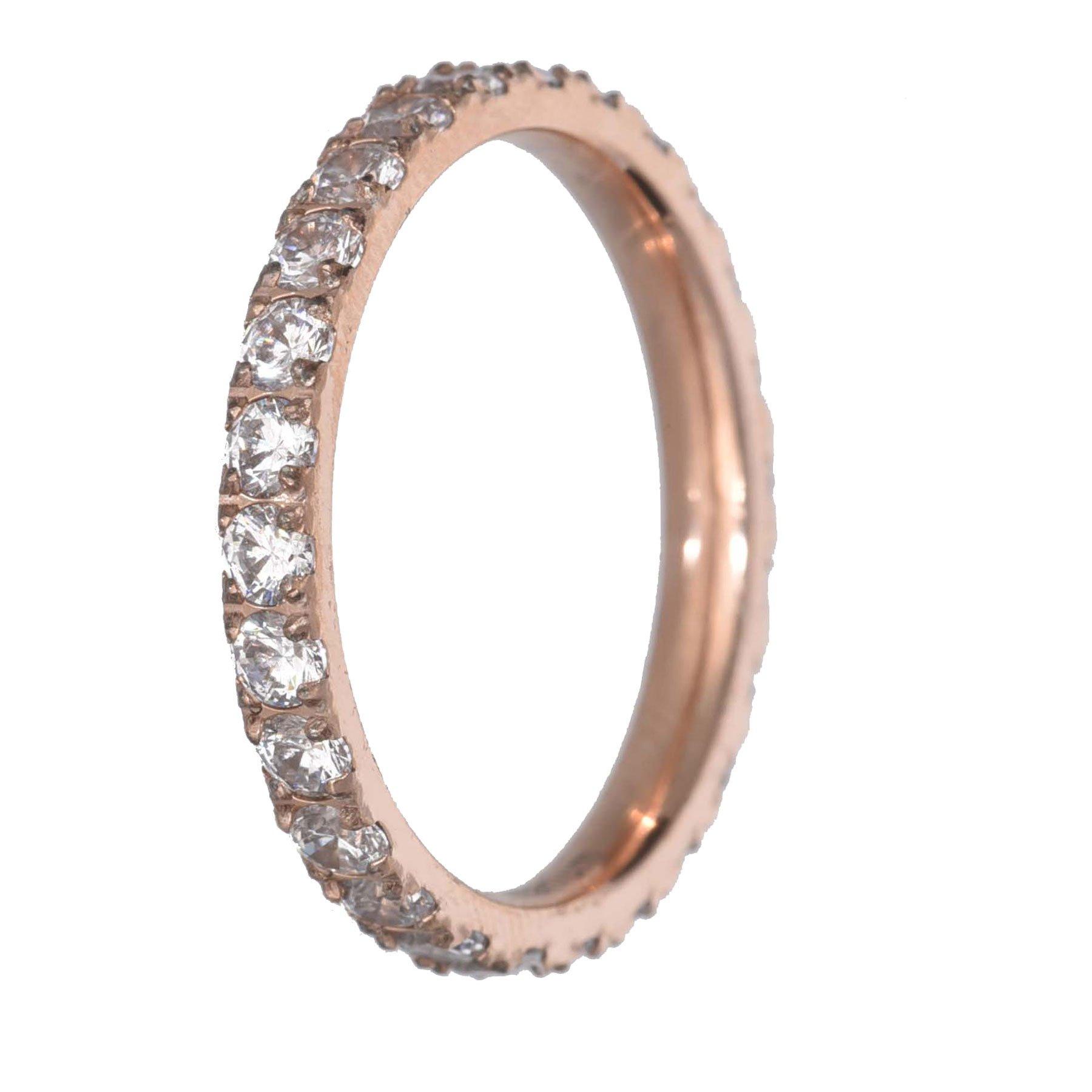 FlameReflection Womens Rose Gold Plated Titanium Eternity Rings White CZ Wedding Engagement Band size 7