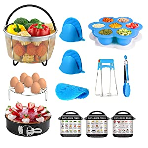 12 Piece Kit for Instant Pot Accessories for 6 QT, 8 QT Include Mesh Steamer Basket, Springform Pan, Egg Bites Mold, Egg Rack, Magnetic Cheat Sheet, Silicone Scrub, Mini Mitts, Bowl Clip and Food Tong