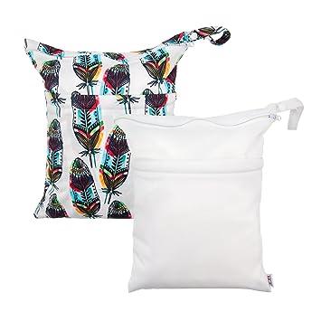 6e52b1765177 Amazon.com   ALVABABY 2pcs Cloth Diaper Wet Dry Bags
