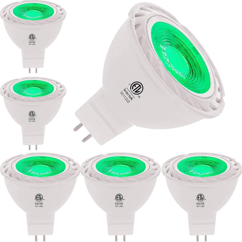 Green MR16 LED Light Bulbs 50W Equivalent Halogen Replacement 6W 12V Bi-pin GU5.3 Outdoor Landscape Yard Lighting- Pack of 6