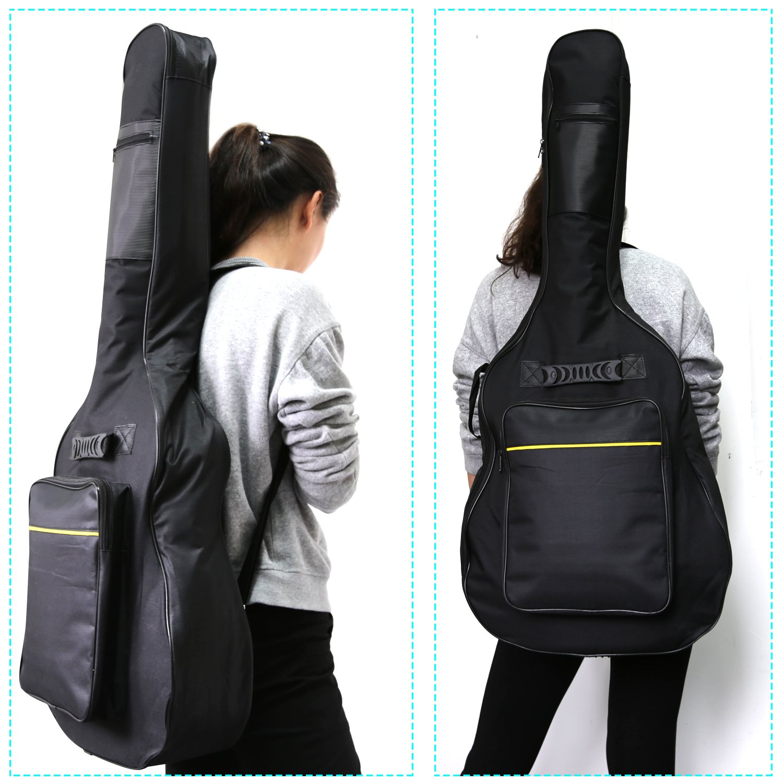 CAHAYA 40 41 Inch Acoustic Guitar Bag Waterproof Dual Adjustable Shoulder Strap Guitar Case Gig Bag - Black