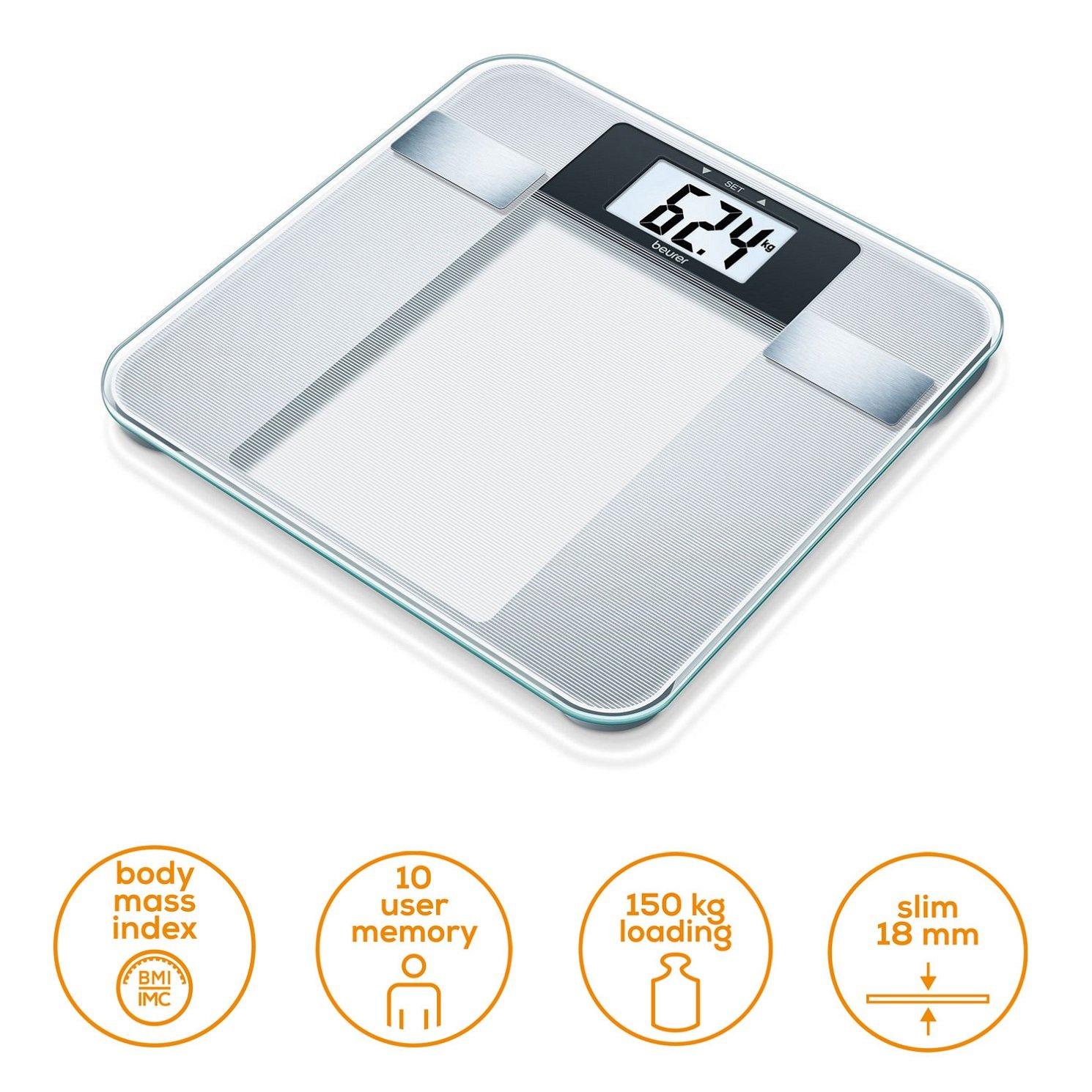 Beurer BG 13 - Báscula de baño diagnóstica de vidrio semitransparente: Amazon.es: Salud y cuidado personal