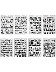 NouveLife Juego de 8 láminas, plantillas de cifras y letras para manualidades, 1 a