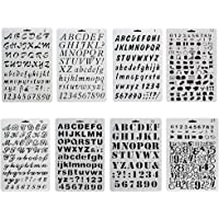 URlighting Bullet Journal Drawing Stencil Template Set (8 P cs) Plastic Planner Stencils with Letters Number Alphabet…
