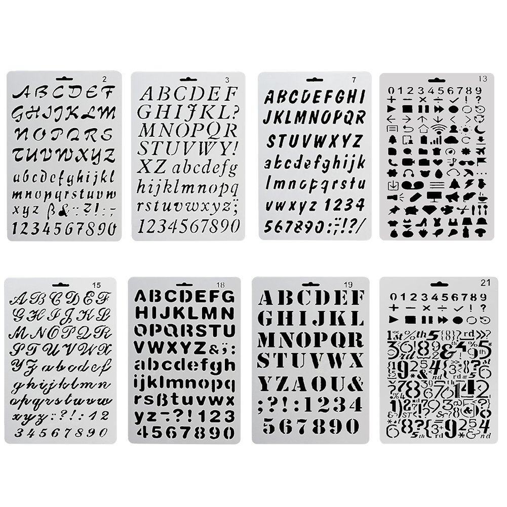 COCODE Plastic Bullet Journal Stencil Template Set of 8 with Letters Number Alphabet Pecfect for Planner/Notebook/Diary/Scrapbook/Journaling/Graffiti/Card DIY Drawing Painting Craft Projects 4336890655