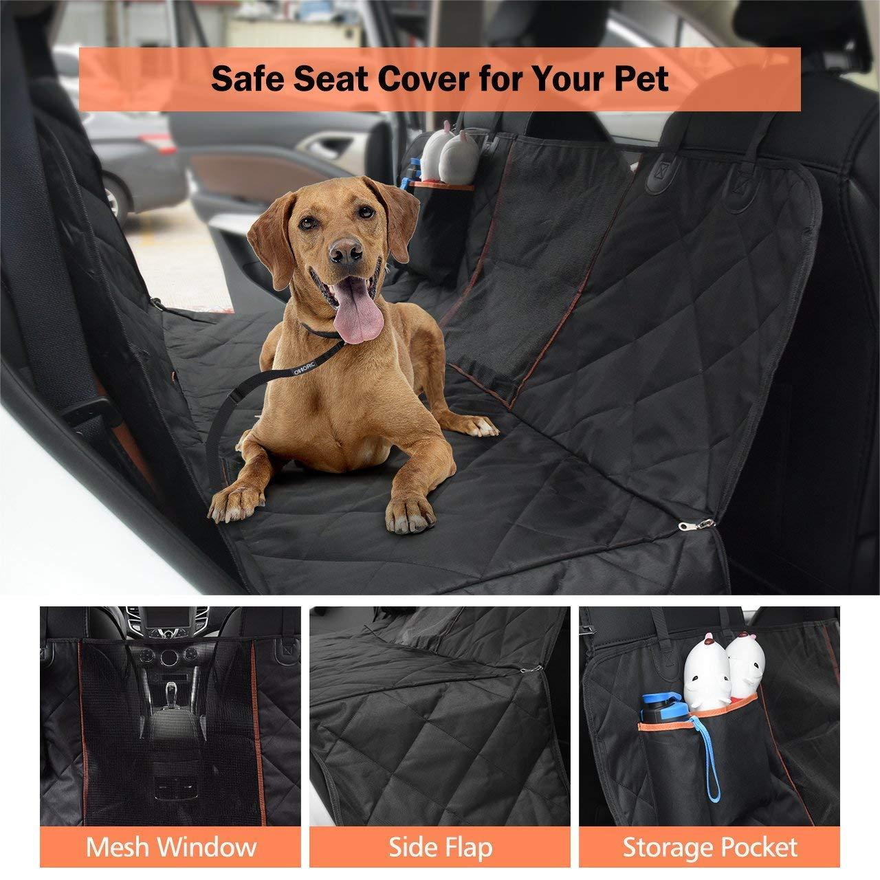 Dog Seat Cover for Cars with Seatbelts Heavy Duty /& Waterproof Dog Car Hammock with a Storage Pocket and Mesh Viewing Window OMORC Upgraded Version 137/×147 cm