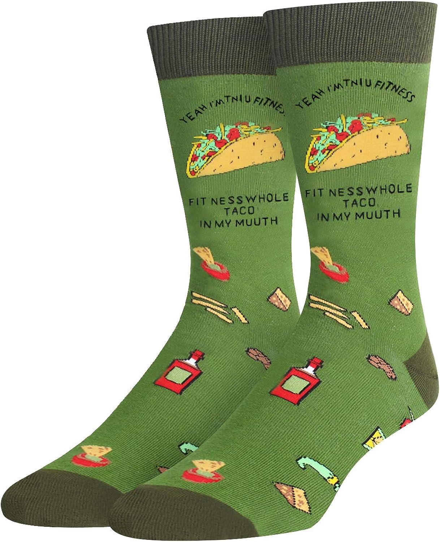 HAPPYPOP Men's Funny Taco Pickle Dill Donut Socks Crazy Food Socks for Food Lover