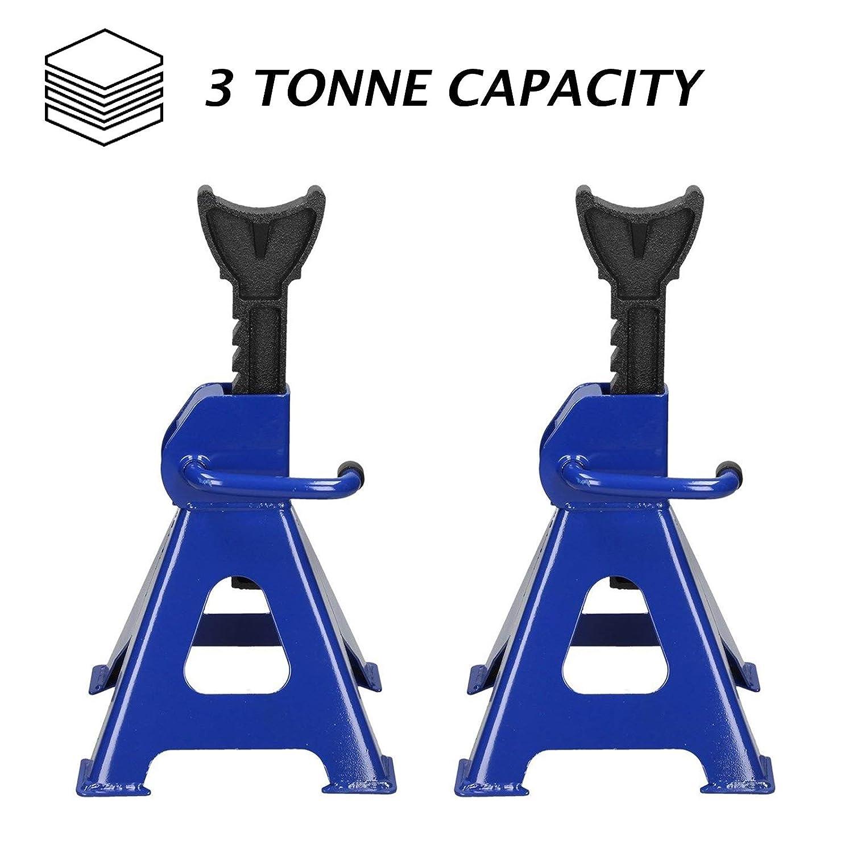 dicn 3 Ton Jack Stand Axle Stands Steel Iron for Car Van Caravan Workshop Garage 3000kg 9-Stage Ratchet Lift Range 11.4-16.9inch Set of 2