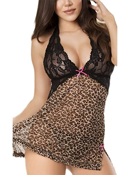 c24a87ff0 Yiwa 2PCS Sexy Deep V Lace Leopard Print Pajamas Set Braces Skirt   T-Back  Flirting Nightgown Seductive Sex Toy Gift  Amazon.co.uk  Clothing