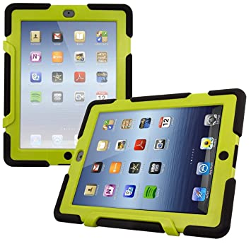 kwmobile Funda protectora híbrida para Apple iPad 2 / 3 / 4 - Carcasa dual para tablet de goma y plástico en verde / negro