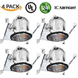 """Sunco Lighting 4 Pack 6"""" New Construction LED Can Air Tight IC Housing LED Recessed Lighting, TP24"""