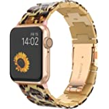 Wearlizer Womens Leopard Strap Compatible with Apple Watch Bands 42mm 44mm for iWatch SE Lightweight Wristbands Dressy Replac
