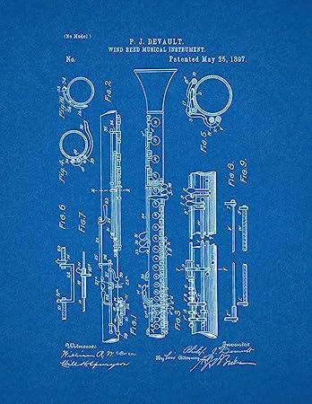 Amazon clarinet patent print art poster blueprint 16 x 20 clarinet patent print art poster blueprint 16quot malvernweather Image collections