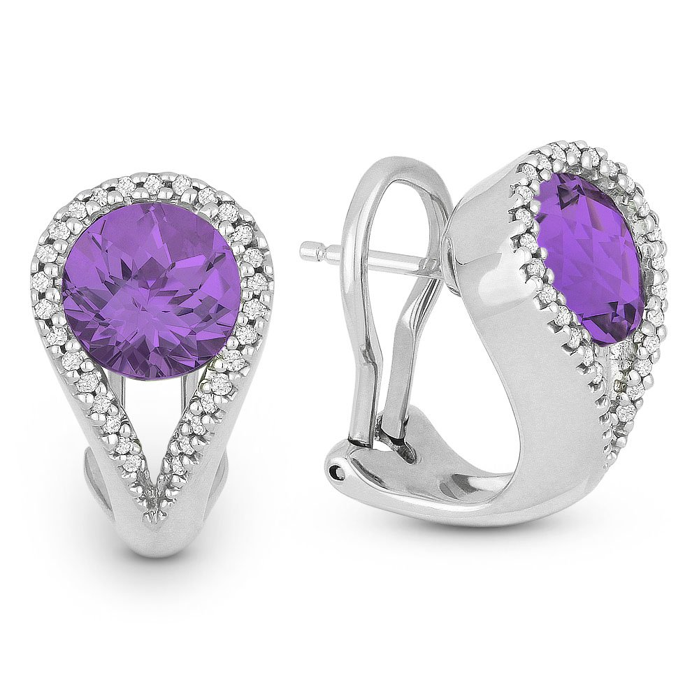 14K White Gold Round Brilliant Shape Amethyst and Diamond Accented Hoop Earrings