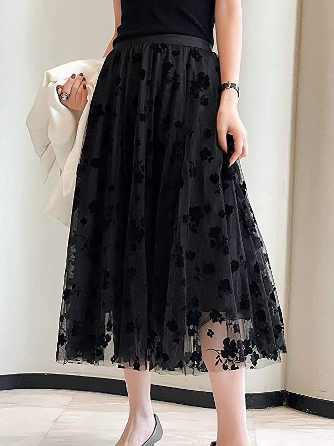 Double sunray tulle maxi skirt with pleated handkerchief\u00a0modern skirt from jacquard fabric with lurex and elastic waist Samantha
