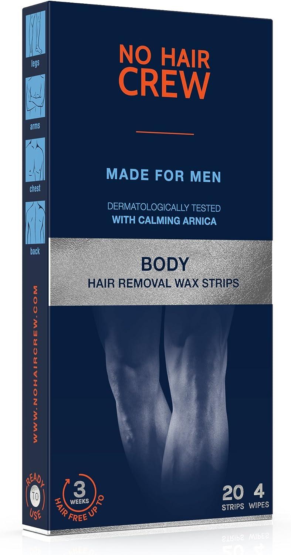 NO HAIR CREW Bandas de Cera Depilatorias Masculinas Premium – Alto Rendimiento Hechas Para Hombres, 20 Tiras Y 4 Toallitas Calmantes