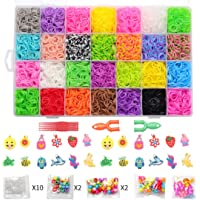 Rubber Bands 10000 PCS DIY Refill Rubber Bands Kit Toy Set Box for Kids 28 with S -Clips Hooks Charms Y-Shape Hook Beads