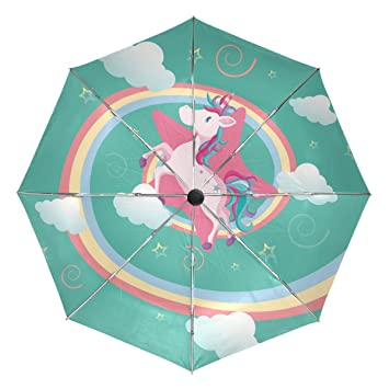 Ieararfre Paraguas Unicornio Volando Triple Pliegue, Resistente al Viento, Mango ergonómico, toldo Reforzado