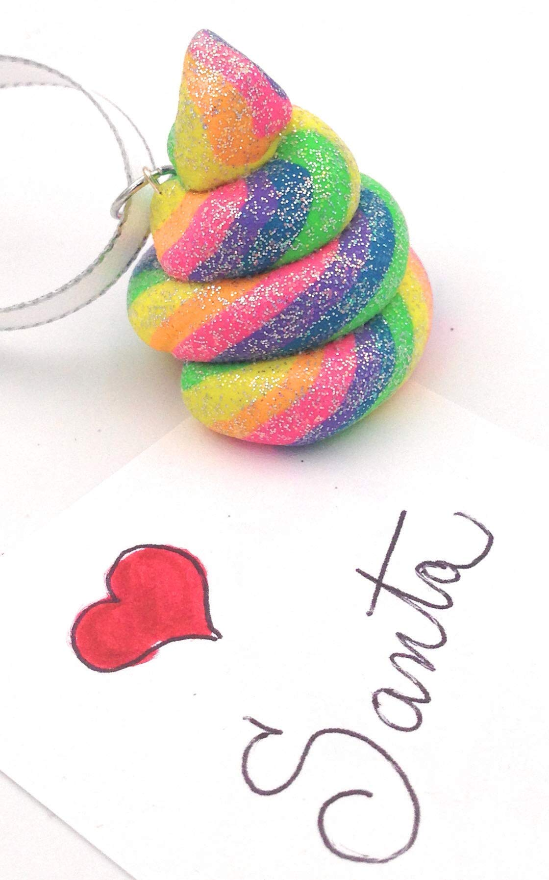 Unicorn Poop Christmas Tree Ornament Rainbow Glitter Emoji Style 6