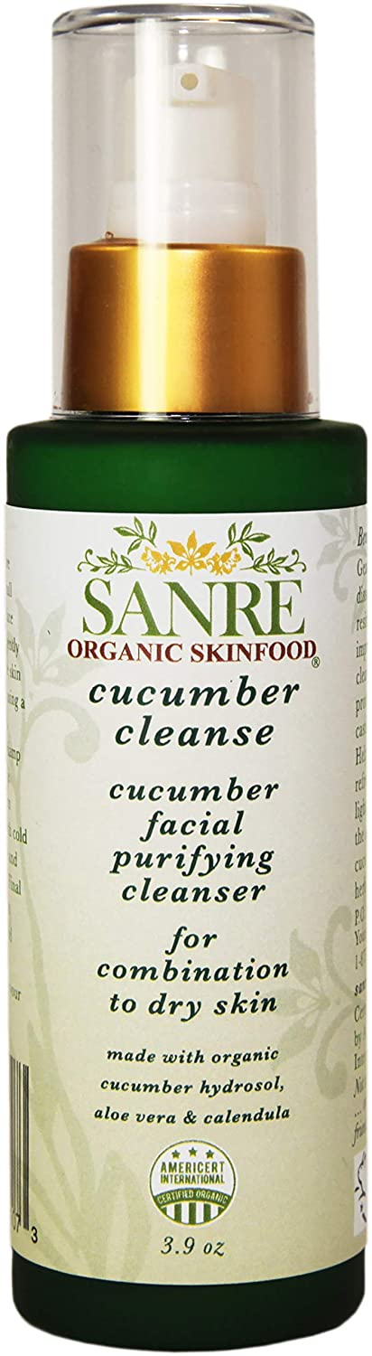 SanRe Organic Skinfood - Cucumber Cleanse - USDA Made with Organic Facial Purifying Cleanser For Dry to Combination Skin