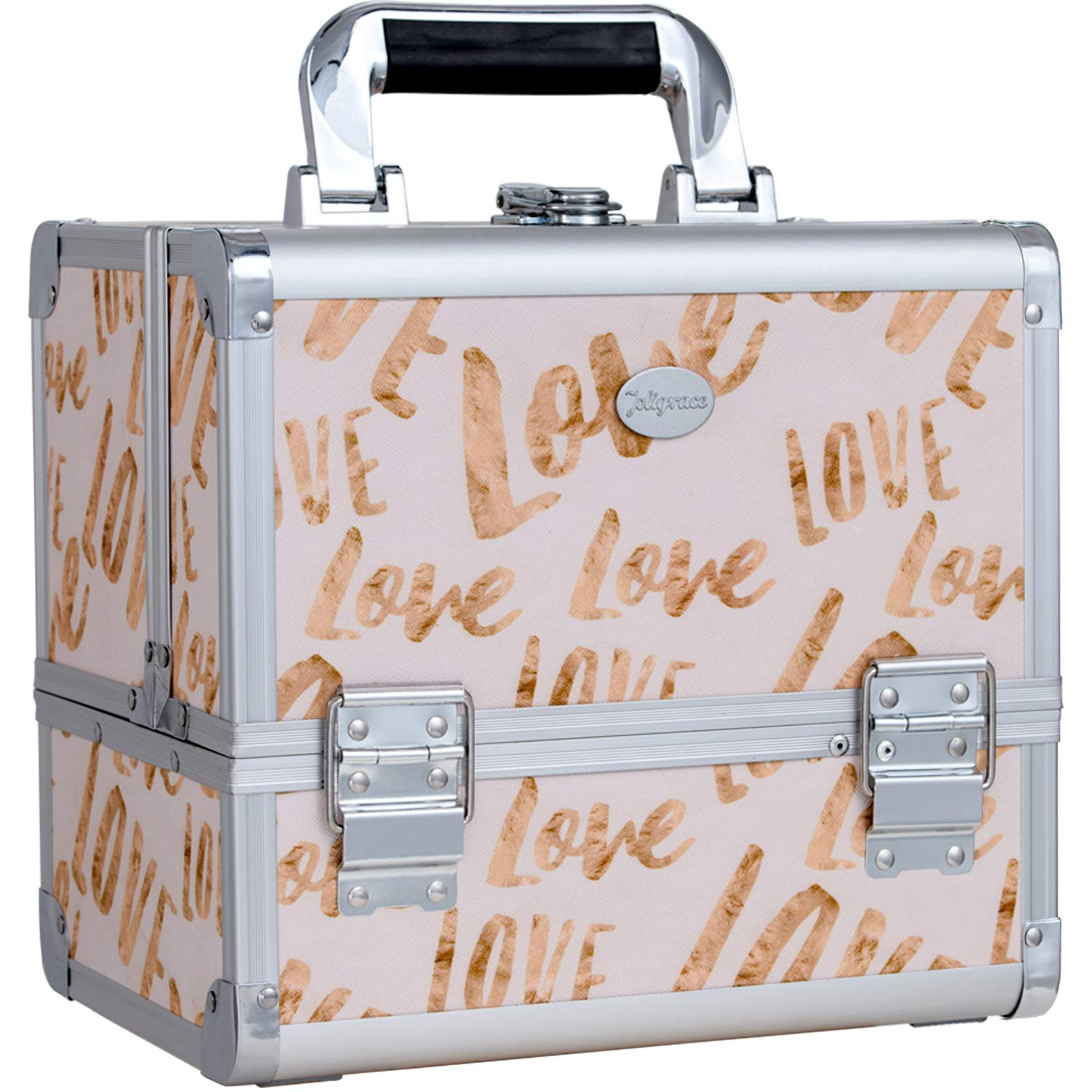 Joligrace Makeup Train Case Cosmetic Organizer Box Lockable with 3 Trays and a Brush Holder White Love Pattern with Mirror by Joligrace
