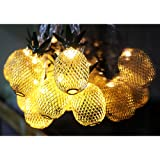 Aytai Pineapple Fairy String Lights Gold Metal Mesh 10 LED Battery Operated String Lights for Hawaiian Luau Birthday Party Christmas Wedding Indoor Outdoor Party Decoration (Warm White)
